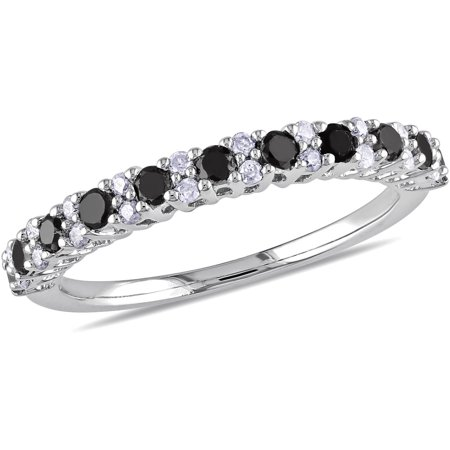1/2 Carat T.W. Round Black and White Diamond Eternity Ring in Sterling (Diamond Tw Eternity Ring)