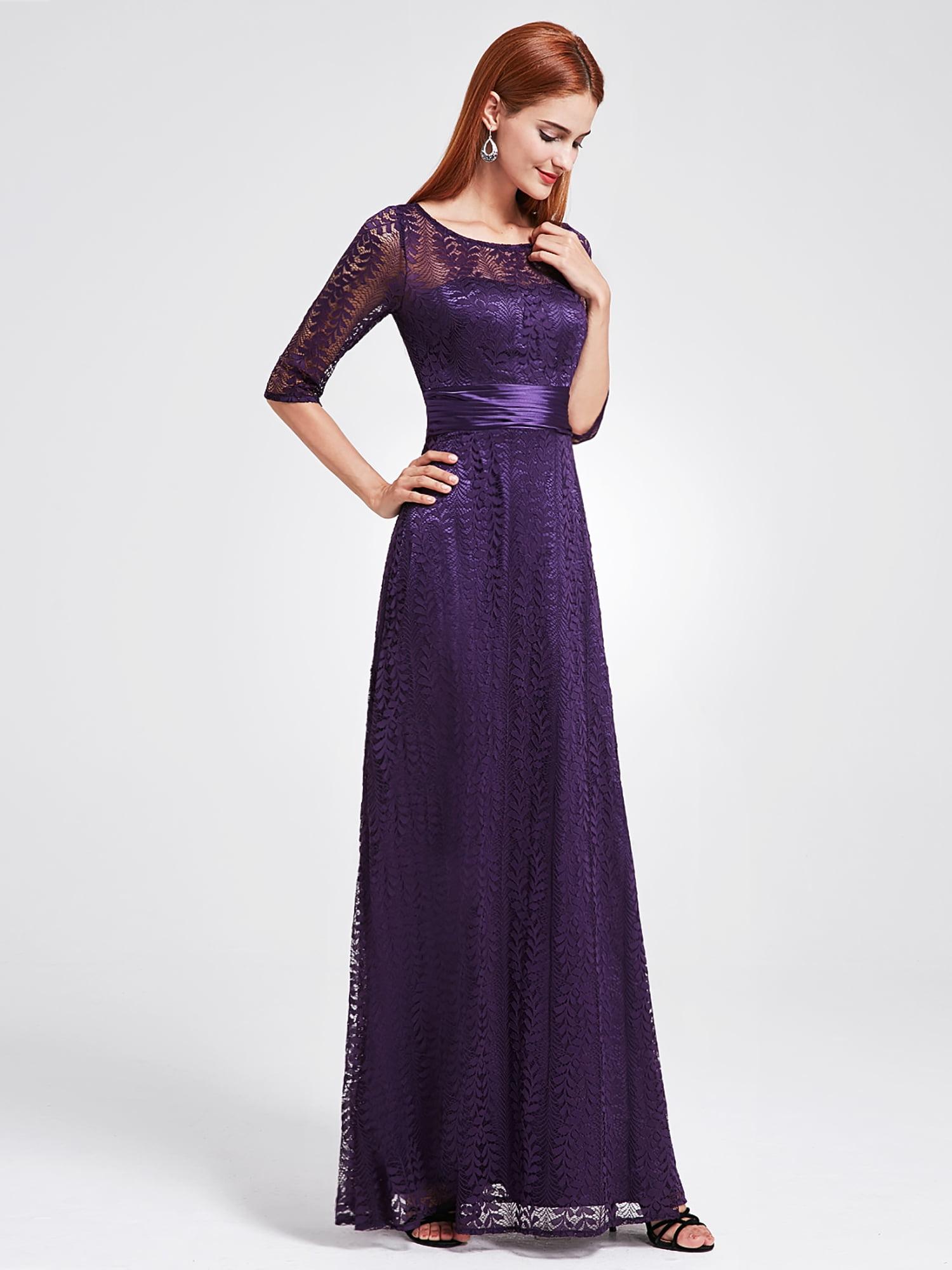 d7d828687c1 Ever-pretty - Ever-Pretty Women s Elegant Long A-Line Floral Lace Formal  Evening Wedding Guest Mother of the Bride Dresses 08878 for Women Purple 4  US ...