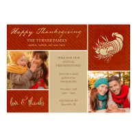 Personalized Thankgiving Photo Card - Thankful Grid - 5 x 7 Flat