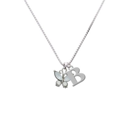 Silvertone Butterfly with White Wings & Clear Crystals - B - Initial Necklace