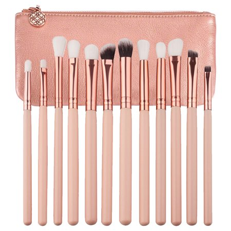 12Pcs Brushes Set Makeup Cosmetic Powder Foundation Eyeshadow Lip Tool + Brush Carry Bag (Luxurious Powder Brush)
