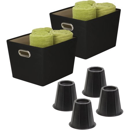Honey Can Do Back to College Storage Kit, 6 Pieces, Black