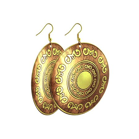 "Gem Avenue Yellow and Brown Ethnic Drawing 3"" & 2.5"" Dangle Earrings with French wire Hook Back Findings"