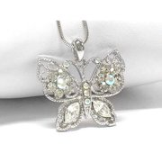 """Winter Butterfly with Aurora Borealis Crystals White Gold Plated Pendant and 16"""" Snake Necklace"""