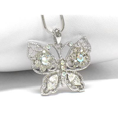 Winter Butterfly with Aurora Borealis Crystals White Gold Plated Pendant and 16