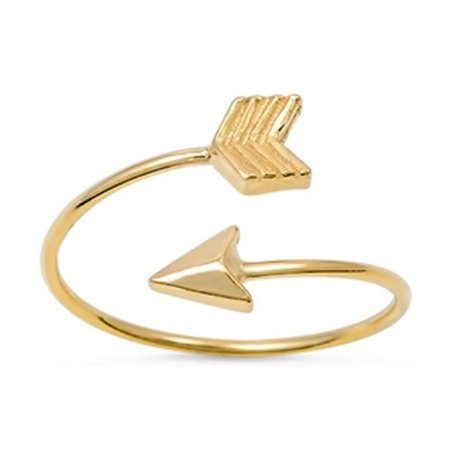 Open Gold-Tone Arrow Classic Ring New .925 Sterling Silver Band Size 10