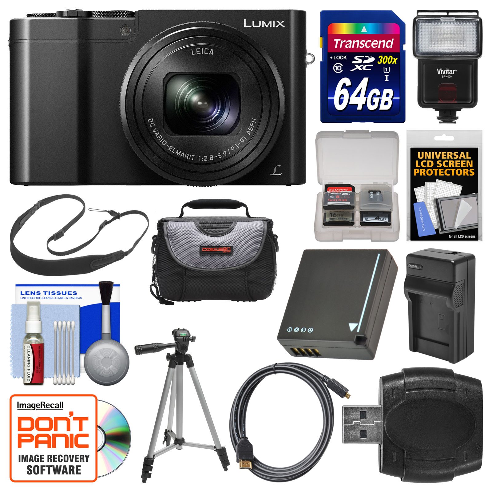 Panasonic Lumix DMC-ZS100 4K Wi-Fi Digital Camera (Silver) with 64GB Card + Case + Flash + Battery & Charger + Tripod + Strap + Kit