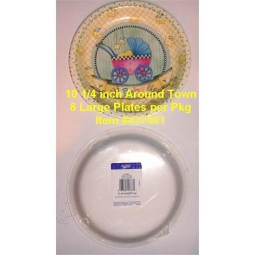 Bulk Buys 10 inch Baby Shower Carraige Paper Plates - 8 Pack - Case of 72