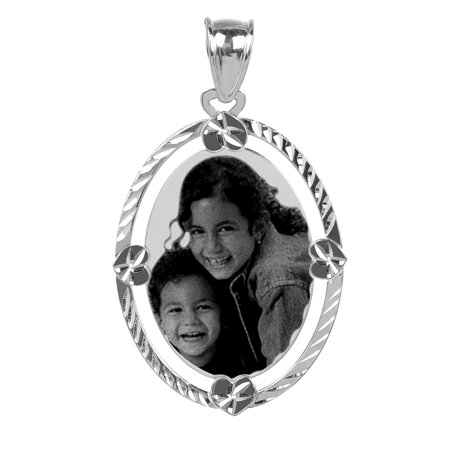Personalized Sterling Silver, Gold Plated, 10k or 14k Black and White Photo Oval Shaped Charm with Fancy Diamond Cut