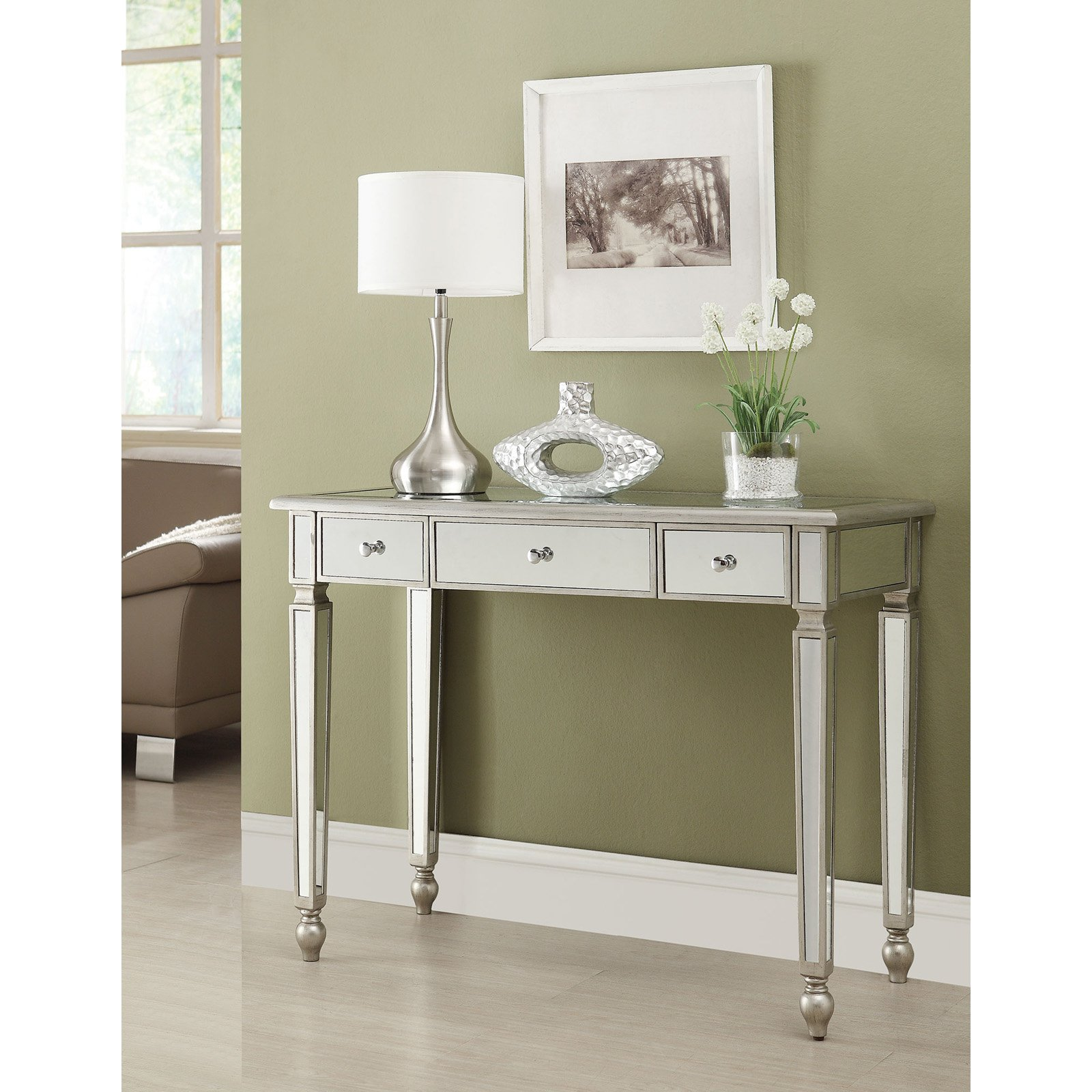 Coaster Furniture Antique Silver Mirrored Console Table