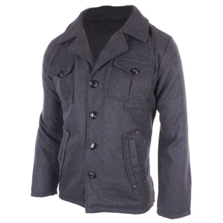Men's Winter Fashion Warm Wool-Blend Double Breasted Buttoned Top Coat   Charcoal Medium