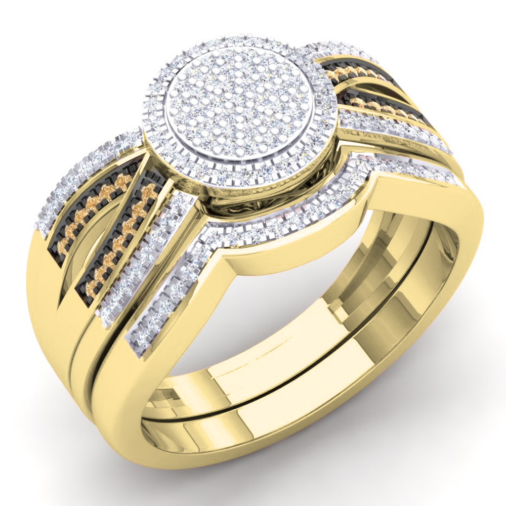 Dazzling Rock 0.40 Carat (Ctw) 18K Yellow Gold Round Cham...