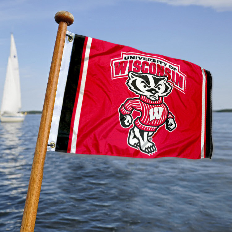 UW Badgers Bucky Badger Boat Flag by College Flags and Banners Co.