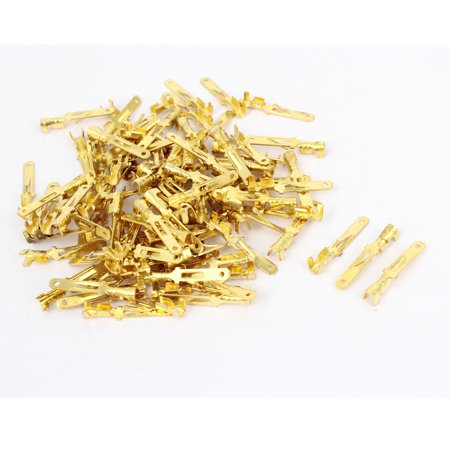 Car Non-insulated 2.8mm Electrical Spade Connector Terminals Gold Tone 100pcs - image 1 of 1