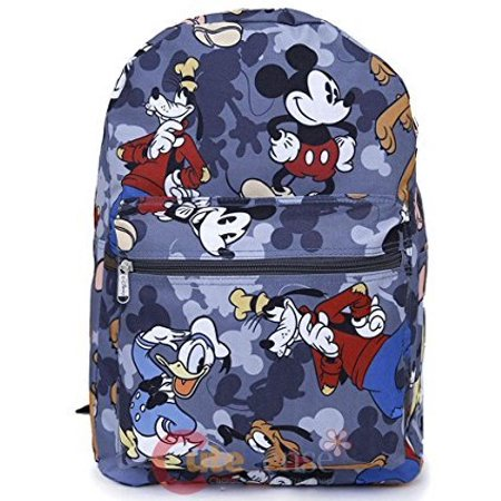 Mickey Mouse Friends 16 Large School Backpack All Over Prints Bag Grey
