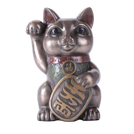 "Maneki Neko Cat 5"" Tall Collectible Resin Figurine"