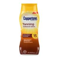 Coppertone Tanning Defend & Glow Sunscreen Vitamin E Lotion, SPF 15, 8oz