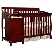 Dream On Me Jayden 4-in-1 Convertible Mini Crib and Changer, Cherry