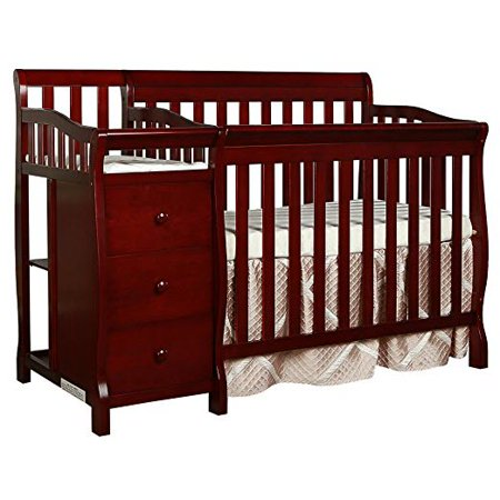 Dream On Me  Jayden  4 In 1 Mini Portable Convertible Crib With Changer  Cherry