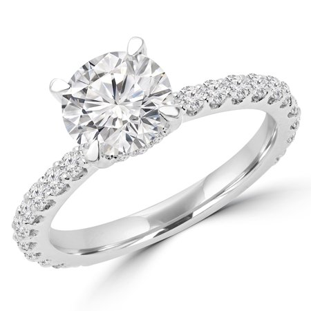 2 1/10 CTW Round Diamond Solitaire with Accents Engagement Ring in 14K White Gold (MD190008) - image 1 de 2