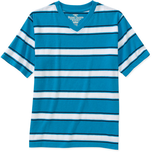 Faded Glory Boys Stripe Short Sleeve V Neck Tee