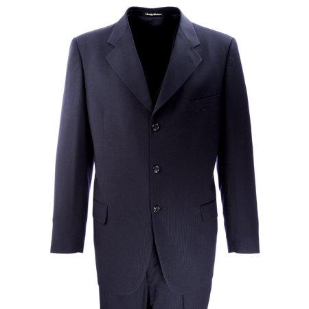 Profilo Three-Piece Striped Wool Suit IT 54R Navy Blue
