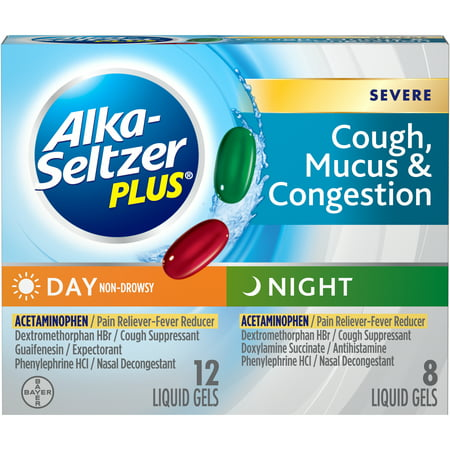 Alka-Seltzer Plus Day & Night Severe Cough, Mucus & Congestion, Liquid Gel, (Best Medicine For Mucus)
