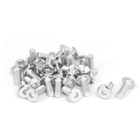 M6x15mm Metal White Zinc Plated Hex Socket Head Furniture Bolts Fastener 30pcs - image 1 of 2
