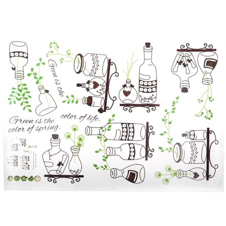 Restaurant Bottle Plant Print Removable Wall Sticker Brown Green 70 x 50cm - image 3 of 4