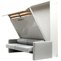 ALADINO European King Size Wall bed with sofa White-White Gloss