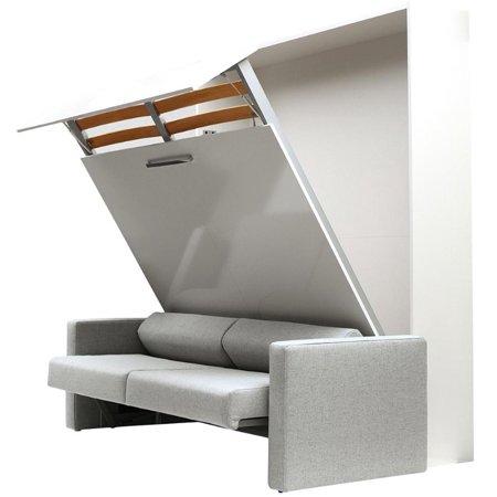 ALADINO European King Size Wall bed with sofa White-White Gloss ()