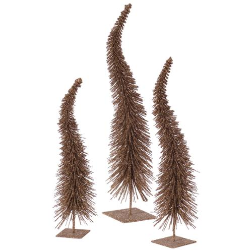 Set of 3 Mocha Brown Glitter Curved Artificial Table Top Christmas Trees - Unlit
