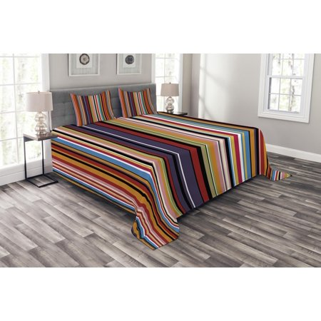 - Abstract Bedspread Set, Vibrant Colored Stripes Vertical Pattern Funky Modern Artistic Tile Illustration, Decorative Quilted Coverlet Set with Pillow Shams Included, Multicolor, by Ambesonne