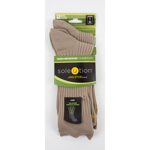 Soleution by GOLDTOE Non-Binding Comfort Men's Combed Cotton Crew, 2-pair Socks