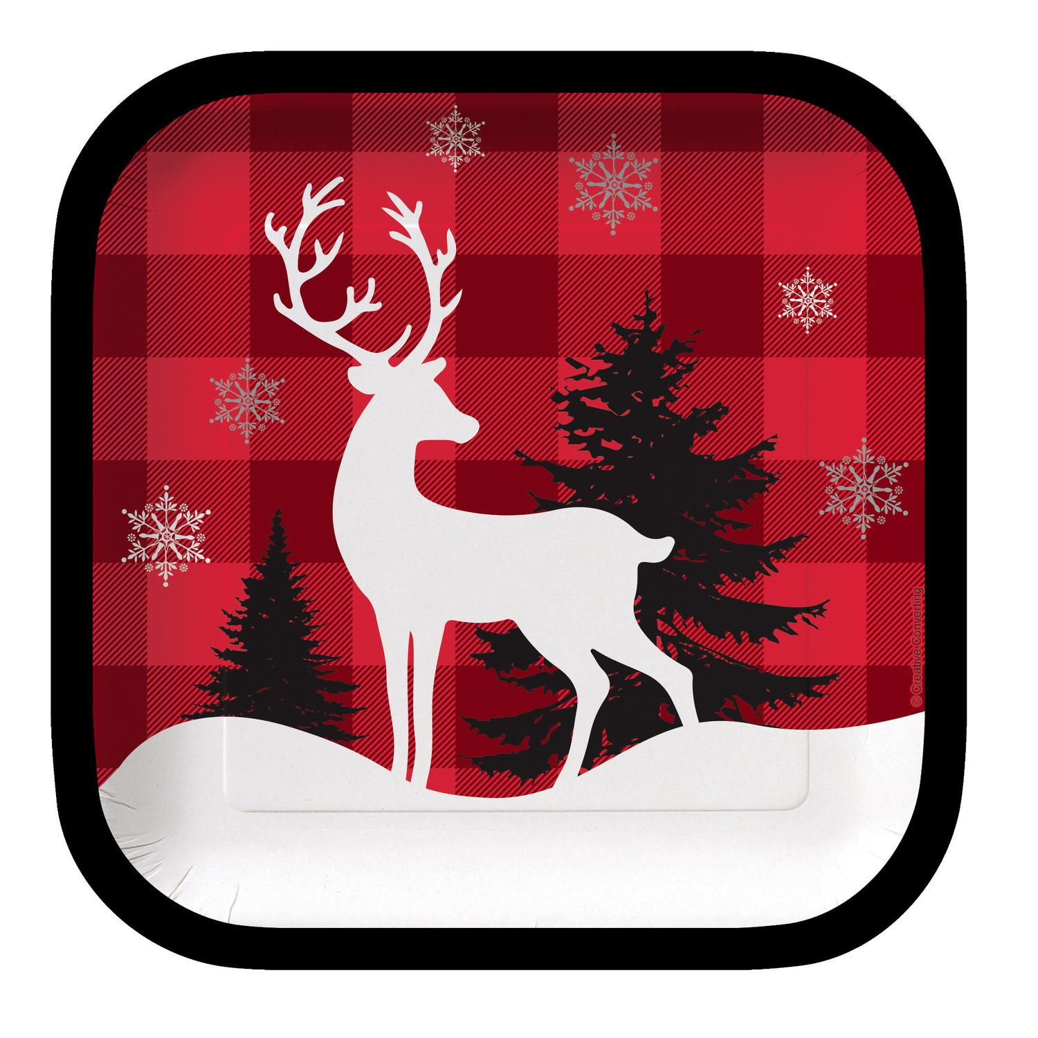 """Club Pack of 96 Winter Lodge Reindeer Square Party Lunch Paper Plates 7"""""""