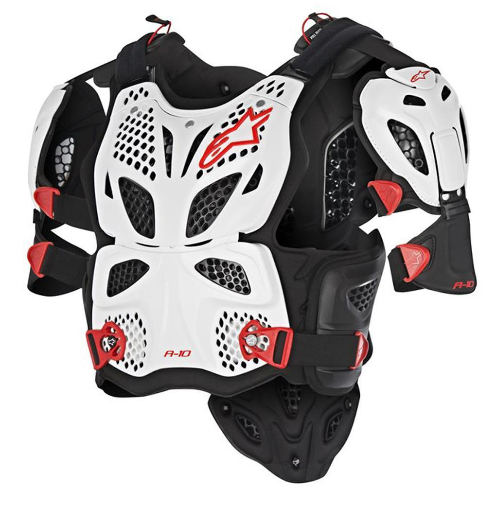Alpinestars A-10 Chest Protector White/Black/Red (White, Medium - Large)