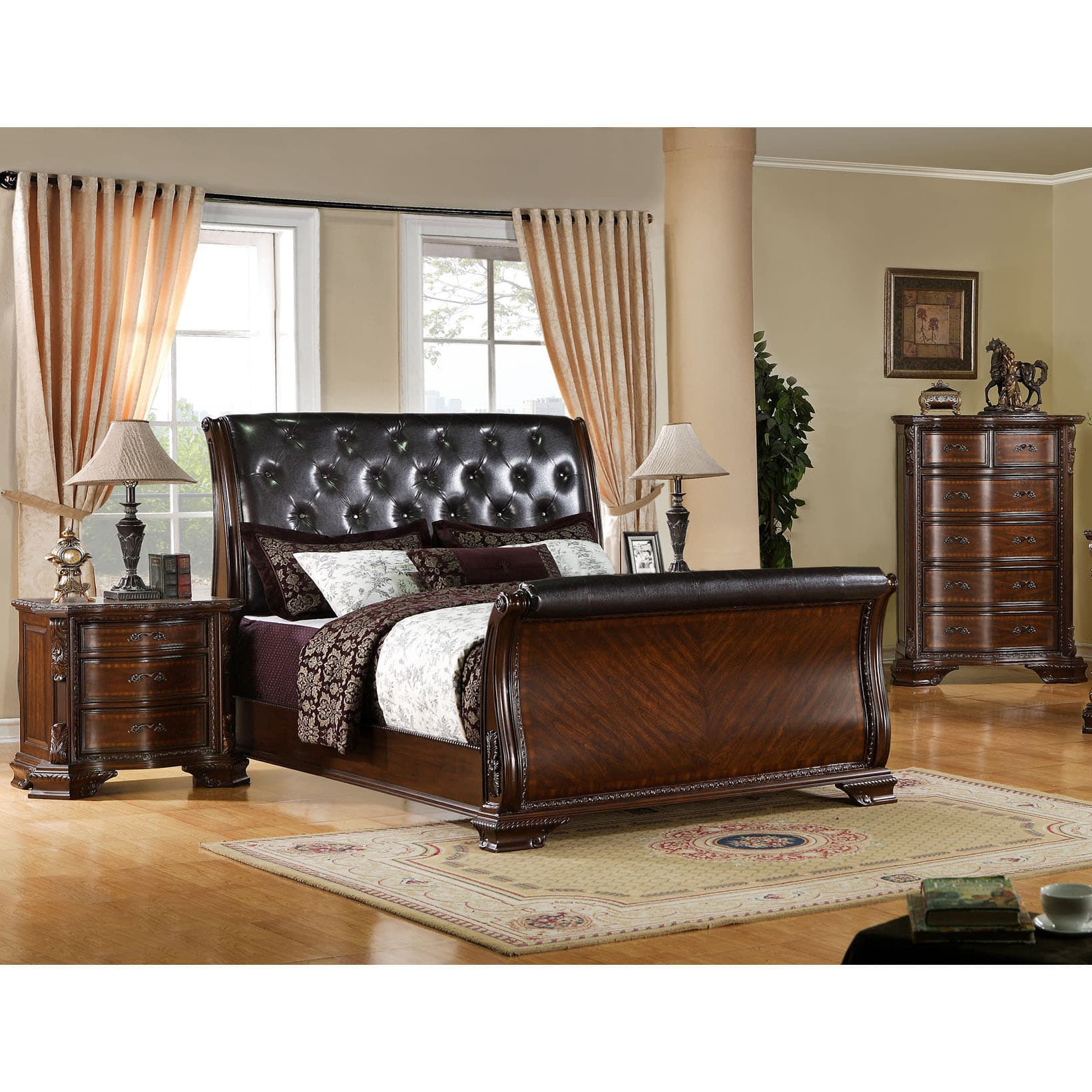 Furniture of America  Luxury Brown Cherry Baroque Style 3-Piece Bedroom Set