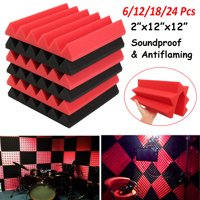 6/12/18/24-Pack 12x12x2 inch Acoustic Panels Studio Soundproofing Foam Wedges KTV Sound Insulation Foam Anti Noise Fire Retardant Tile Red + Black