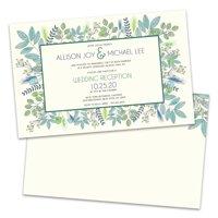 Green Botanical Personalized Wedding Reception Invitations