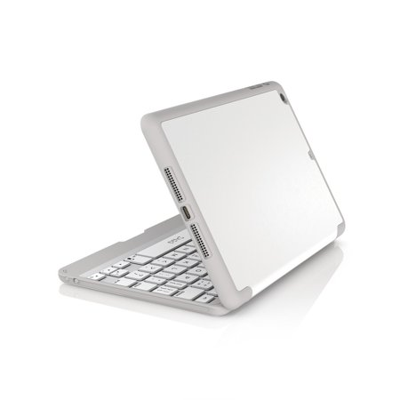 ZAGG Folio Case, Hinged With Bluetooth Keyboard - Ultra Thin, Protective Leather Texture, Durable for iPad mini & mini Retina, White (Best Keyboard For Ipad Mini Retina)