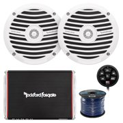 """Marine Speaker And Amp Combo Of 2x Rockford Fosgate RM0652 6.5"""" Marine Audio Speakers Bundle With a 300-Watt 2-Channel Boosted Rail Amplifier W/ Bluetooth preamp controller + 50Ft Speaker Wire (White)"""