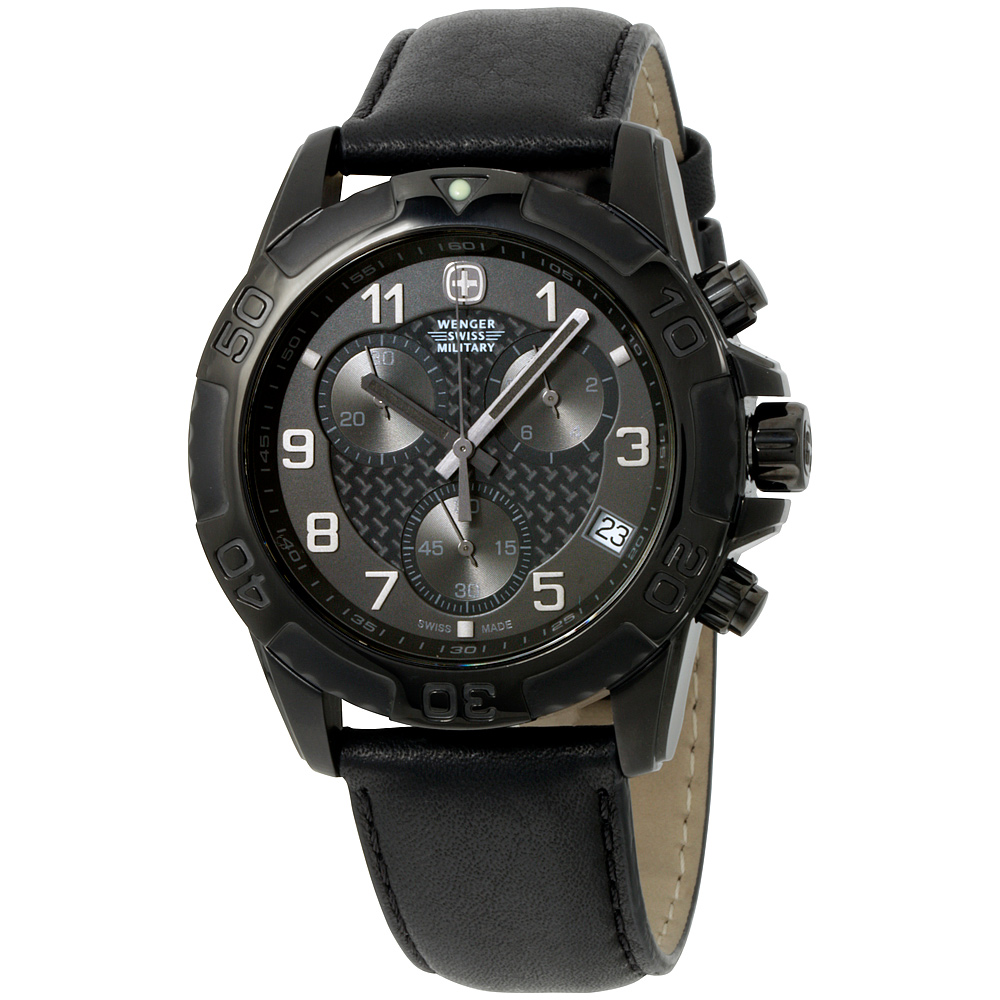 Wenger Swiss Army Military Black Dial Black Leather Strap...