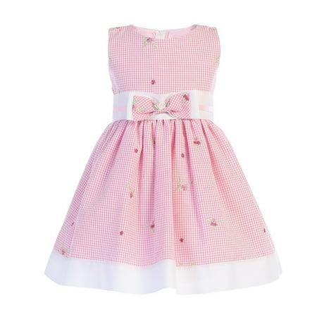 Little Girls Pink Seersucker Bow Accent Cotton Flower Girl Dress 2T