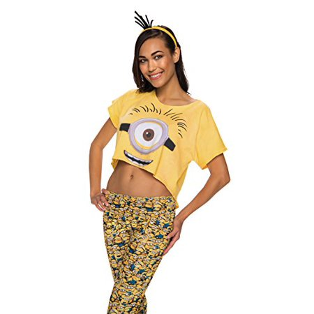 Rubie's Costume Co Women's Minion Costume Crop Top, Multi, Medium-Large (Minion Costume Shirt)