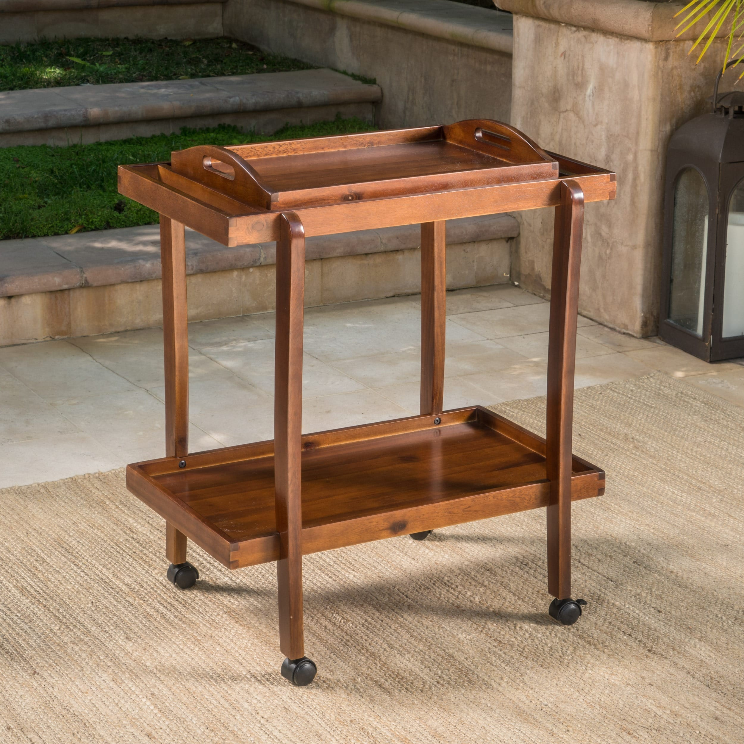 Christopher Knight Home Preslie Acacia Wood Bar Cart with Removable Tray by