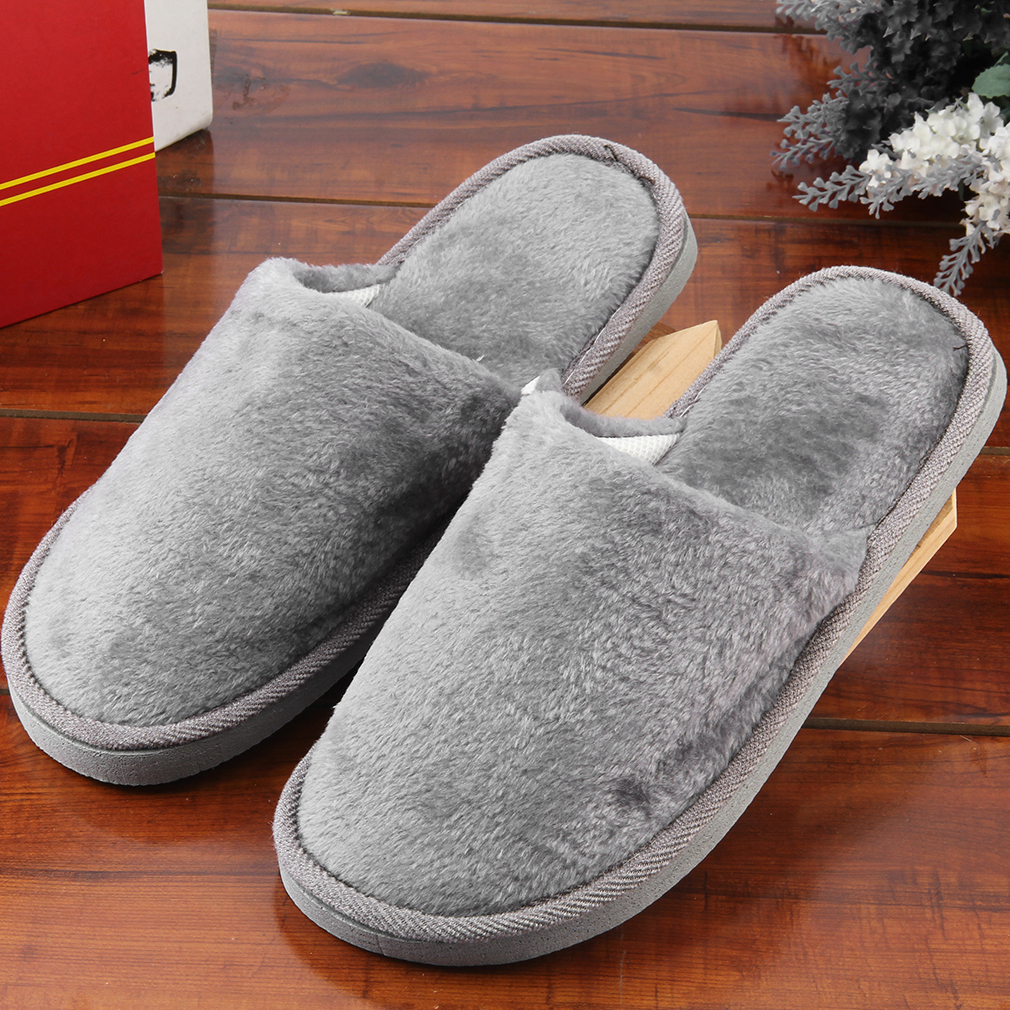Rubber Insole Breathable Plush Indoor Home House Women Men Home Anti Slipping Shoes Soft Sole Warm Cotton Silent Adult Slipper