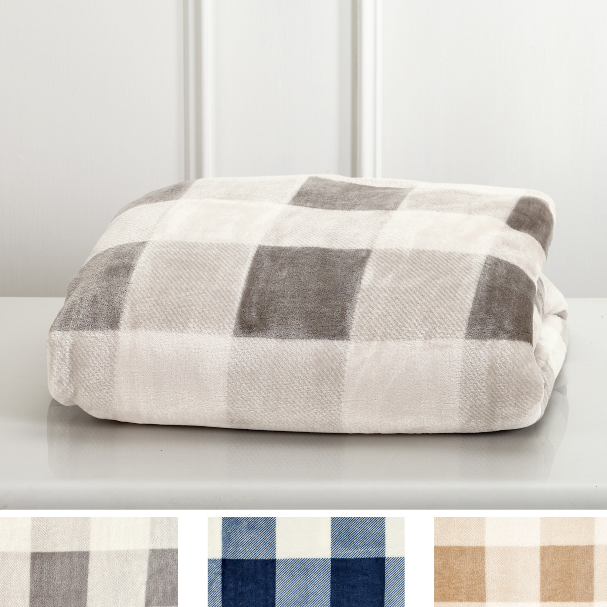 Super Soft Plaid Buffalo Check Velvet Plush Bed Blanket. By Great Bay Home