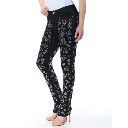 MICHAEL KORS Womens Black Rhinestone Stars Skinny Pants  Size: 2