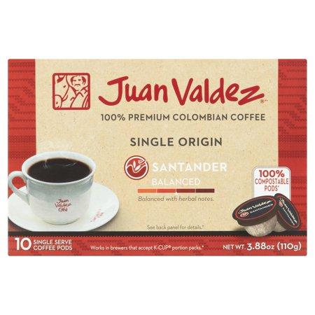 Juan Valdez Single Origin Santander Balanced 100  Premium Colombian Coffee  10 Count  3 88 Oz