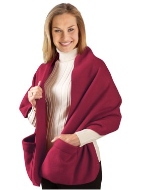 Cozy Fleece Wrap Shawl With Large Front Pockets - Keeps Hands and Shoulders Warm During Cold Winter Season